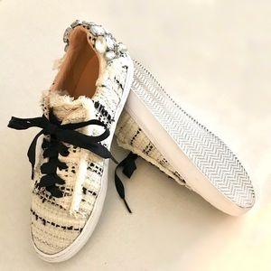 Zara women's tennis shoes rhinestones jewel